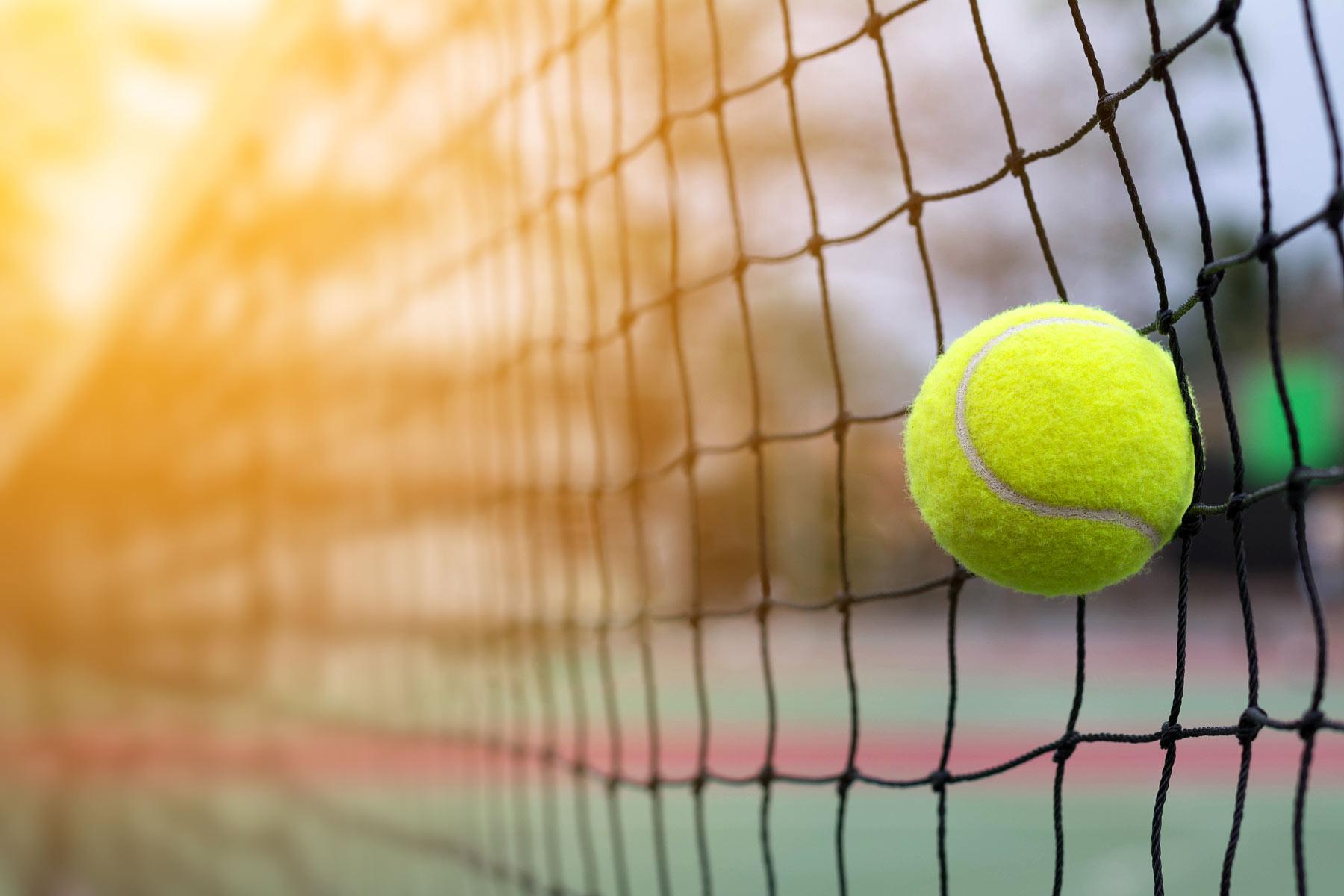tennis ball against tennis net